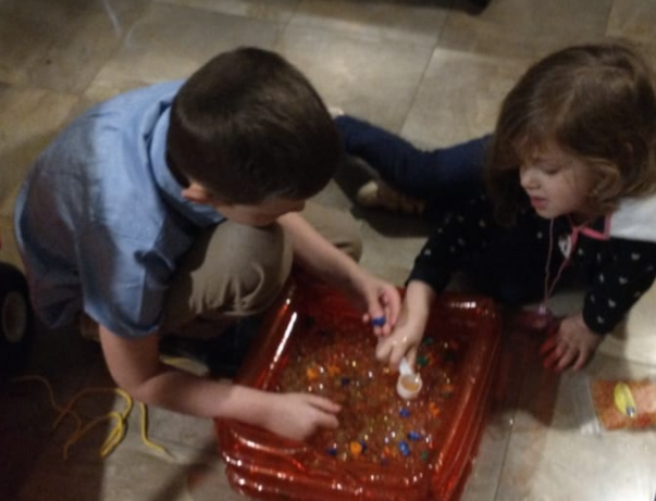 Alphafun is a multisensory learning toy with alphabet letters and waterbeedz